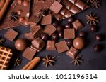 broken chokolate bars and... | Shutterstock . vector #1012196314