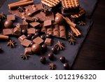 broken chokolate bars and... | Shutterstock . vector #1012196320