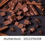 broken chokolate bars and... | Shutterstock . vector #1012196338