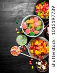 different sweet candy  jelly... | Shutterstock . vector #1012197739