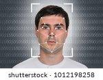 man face recognition  ...   Shutterstock . vector #1012198258