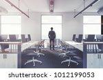 modern office interior with... | Shutterstock . vector #1012199053