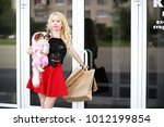 beautiful young blonde on a... | Shutterstock . vector #1012199854
