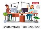 radio station dj man and woman... | Shutterstock .eps vector #1012200220
