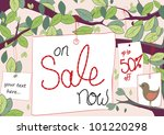 Sale tags hang from trees with space for text like 50% off - stock vector
