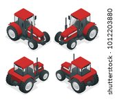 isometric tractor works in a... | Shutterstock .eps vector #1012203880