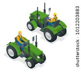 isometric tractor works in a... | Shutterstock .eps vector #1012203883