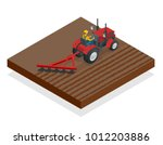 isometric tractor works in a... | Shutterstock .eps vector #1012203886