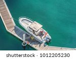 aerial view of speed boat and... | Shutterstock . vector #1012205230