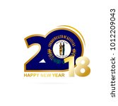 year 2018 with kentucky flag... | Shutterstock . vector #1012209043