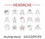 headache line icons. symptoms.... | Shutterstock .eps vector #1012209193