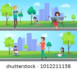 people spend time in city park... | Shutterstock . vector #1012211158