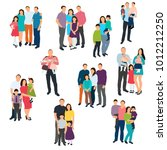 silhouette set of family on... | Shutterstock .eps vector #1012212250