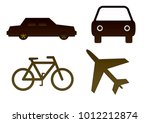 set of 4 transport objects  car ... | Shutterstock . vector #1012212874