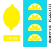 lemon fruit icon set. yellow... | Shutterstock .eps vector #1012216858