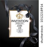 vip invitation card with black... | Shutterstock .eps vector #1012218916