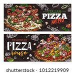 vector hand drawn pizza... | Shutterstock .eps vector #1012219909