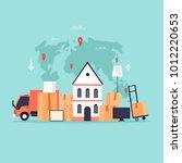 cargo transportation  moving to ... | Shutterstock .eps vector #1012220653
