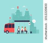 stop  passengers are waiting... | Shutterstock .eps vector #1012220833