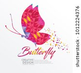 butterfly geometric paper craft ... | Shutterstock .eps vector #1012224376