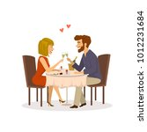 happy cheerful couple in love... | Shutterstock .eps vector #1012231684