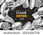 vector vintage fast food... | Shutterstock .eps vector #1012232776