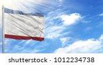 flag of crimea on flagpole   Shutterstock . vector #1012234738