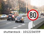 80km h speed limit sign with a... | Shutterstock . vector #1012236559