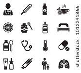 flu icons. black flat design....   Shutterstock .eps vector #1012241866