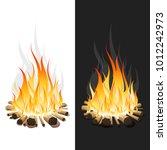 illustration of burning bonfire ... | Shutterstock .eps vector #1012242973
