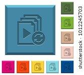 restart playlist engraved icons ... | Shutterstock .eps vector #1012245703