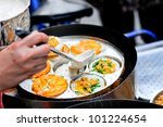 Chinese food and snack in China Town. - stock photo