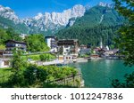 alleghe is a charming mountain... | Shutterstock . vector #1012247836