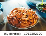 isolated prepared orange shrimp ... | Shutterstock . vector #1012252120