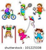 set of active kids | Shutterstock .eps vector #101225338