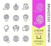 globe  line vector icon set.... | Shutterstock .eps vector #1012254568