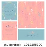 vector set of postcard with... | Shutterstock .eps vector #1012255300