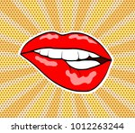 red woman sweet lips in pop art ... | Shutterstock .eps vector #1012263244