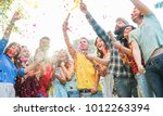 happy friends having party... | Shutterstock . vector #1012263394