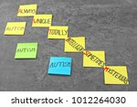 "Small photo of Stickers with abbreviation expansion for word ""Autism"" on grey background"