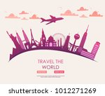 travel to world. vacation. trip ... | Shutterstock .eps vector #1012271269
