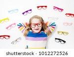 child at eye sight test. little ...   Shutterstock . vector #1012272526