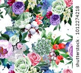 bouquet flower pattern in a... | Shutterstock . vector #1012274218