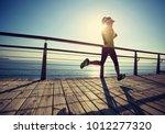 sporty fitness female runner... | Shutterstock . vector #1012277320