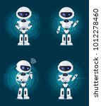 four glossy white robots stands ... | Shutterstock .eps vector #1012278460
