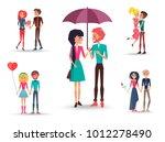 set of five couples in love... | Shutterstock .eps vector #1012278490