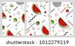 trendy memphis style watermelon ... | Shutterstock .eps vector #1012279219