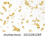 falling shiny golden confetti... | Shutterstock .eps vector #1012281289