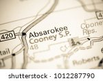 Small photo of Absarokee. Montana on a map.