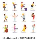 set with musicians. vector....   Shutterstock .eps vector #1012289053